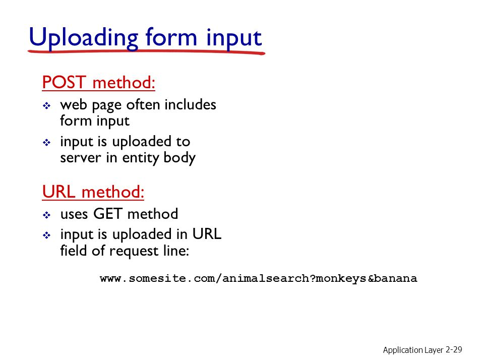 Application Layer 2-29 Uploading form input POST method: web page often includes form input input is uploaded to server in entity body URL method: use