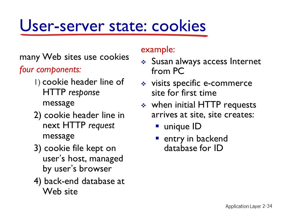 Application Layer 2-34 User-server state: cookies many Web sites use cookies four components: 1) cookie header line of HTTP response message 2) cookie