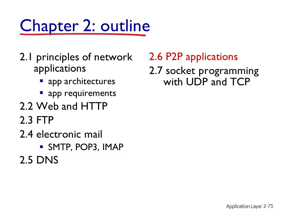Application Layer 2-75 Chapter 2: outline 2.1 principles of network applications app architectures app requirements 2.2 Web and HTTP 2.3 FTP 2.4 elect
