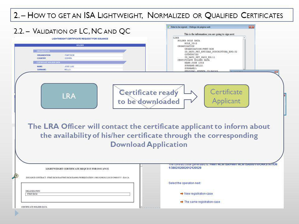 2.2. – V ALIDATION OF LC, NC AND QC 2. – H OW TO GET AN ISA L IGHTWEIGHT, N ORMALIZED OR Q UALIFIED C ERTIFICATES ******* LRA Certificate Applicant Ce