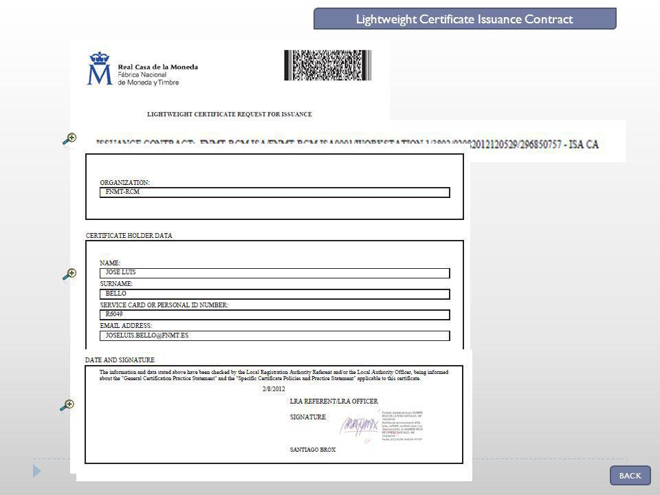 BACK Lightweight Certificate Issuance Contract