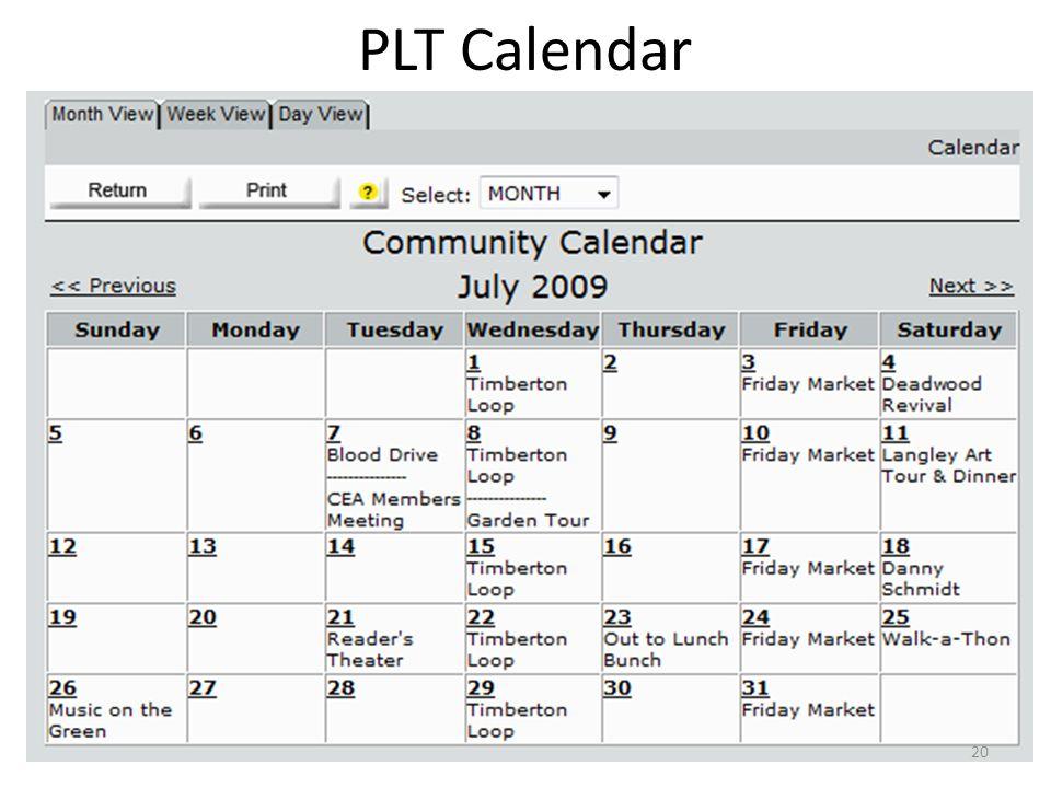 PLT Calendar 20
