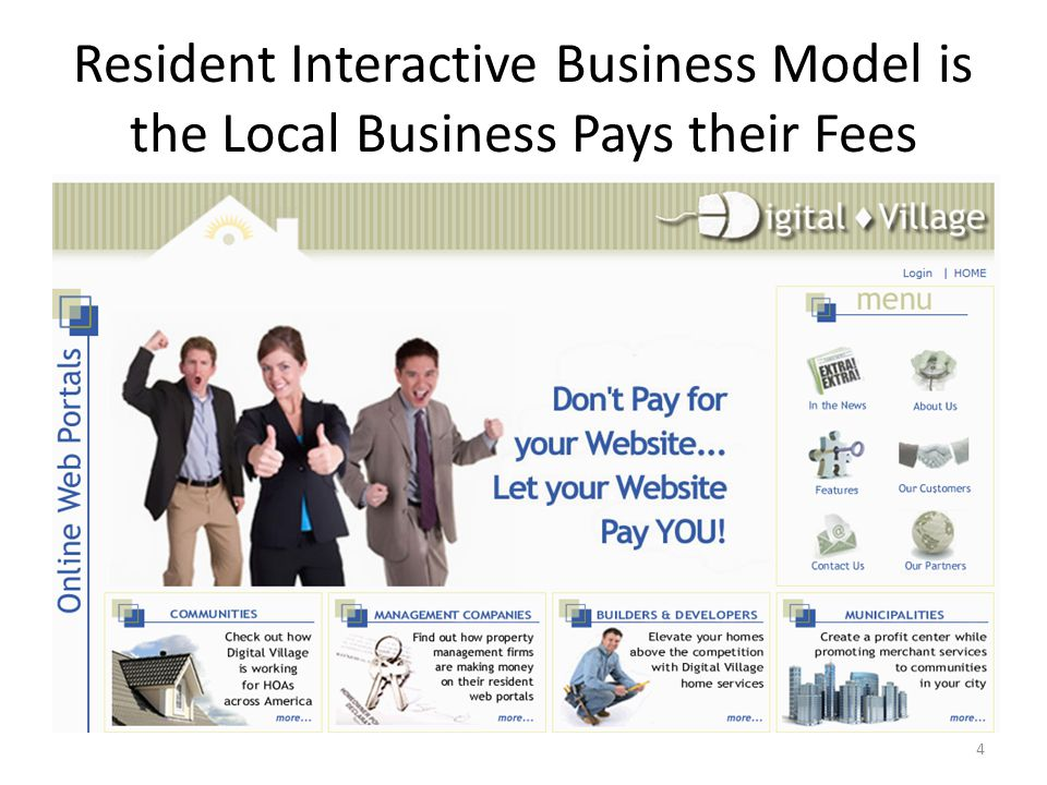 Resident Interactive Business Model is the Local Business Pays their Fees 4