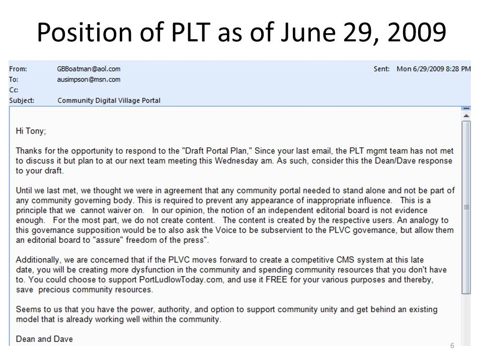 Position of PLT as of June 29, 2009 6