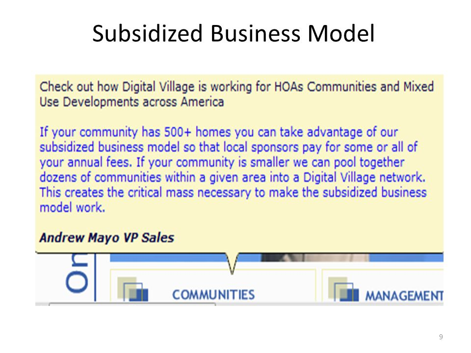 Subsidized Business Model 9