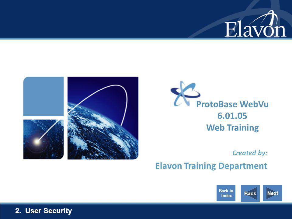 Created by: Elavon Training Department 2. User Security Next Back Back to Index ProtoBase WebVu 6.01.05 Web Training