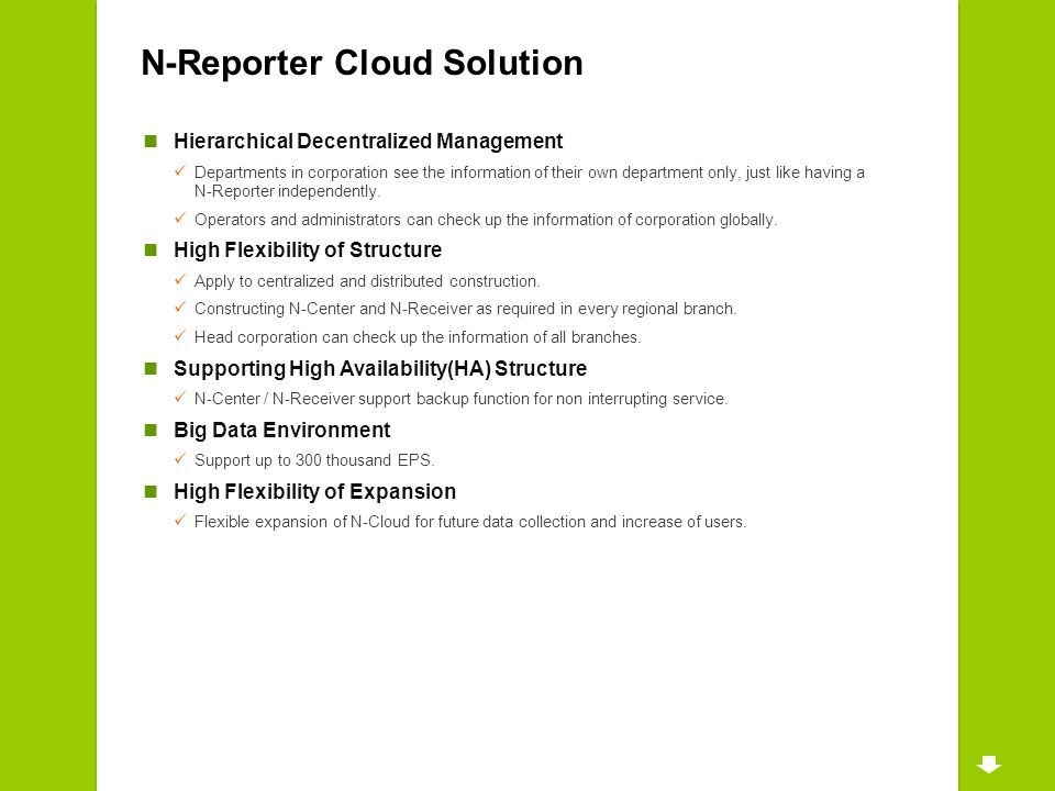 N-Reporter Cloud Solution Hierarchical Decentralized Management Departments in corporation see the information of their own department only, just like having a N-Reporter independently.