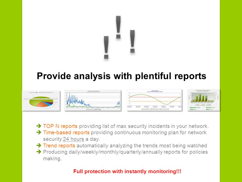 Provide analysis with plentiful reports TOP N reports providing list of max security incidents in your network.