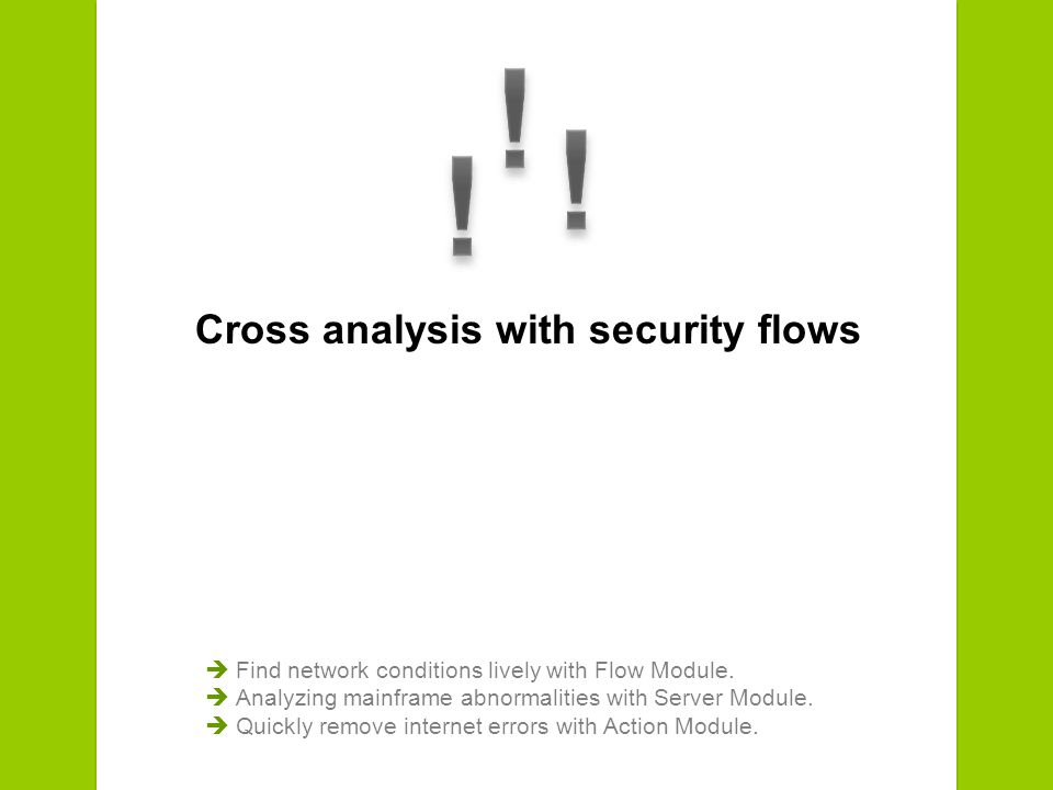 Cross analysis with security flows Find network conditions lively with Flow Module.