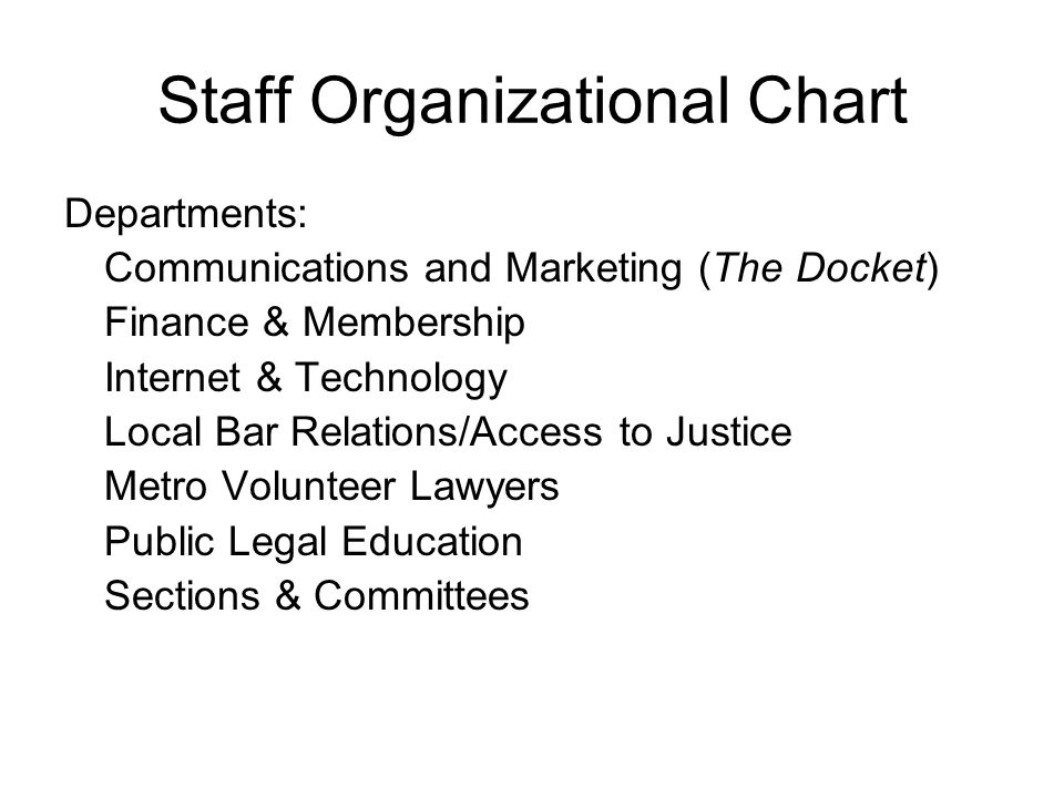 Staff Organizational Chart Departments: Communications and Marketing (The Docket) Finance & Membership Internet & Technology Local Bar Relations/Acces