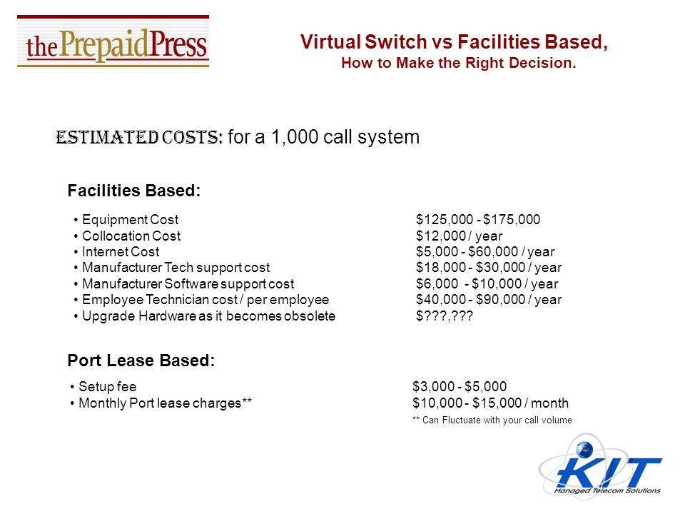 Virtual Switch vs Facilities Based, How to Make the Right Decision. Ask Yourself these Questions: Does your company need to or want to own a depreciat
