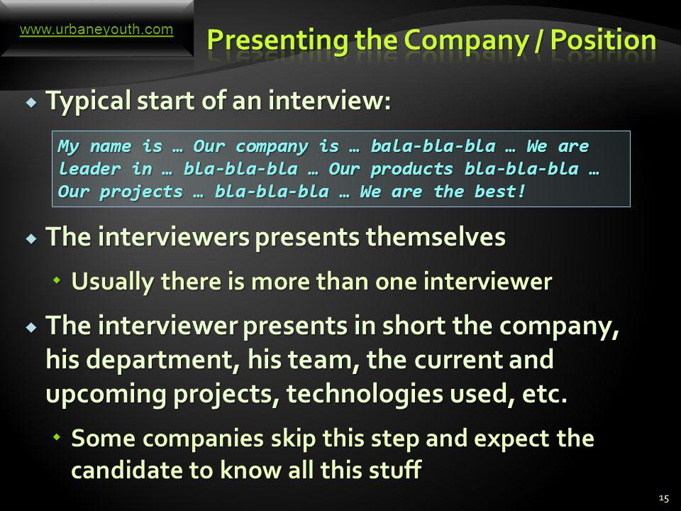A technical interview for software engineer consists of the following parts: A technical interview for software engineer consists of the following parts: The candidate presents himself or herself The candidate presents himself or herself The interviewers present the company, its business, products, services, etc.