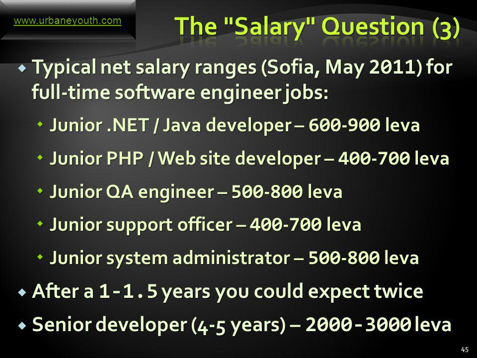 You always talk about a net salary (after all the taxes are deducted) for a full-time job (8 hours) You always talk about a net salary (after all the taxes are deducted) for a full-time job (8 hours) Some candidates will say: Some candidates will say: Some companies have a policy for this case: Some companies have a policy for this case: Most companies will force you to say a certain number and you should say something – be ready.
