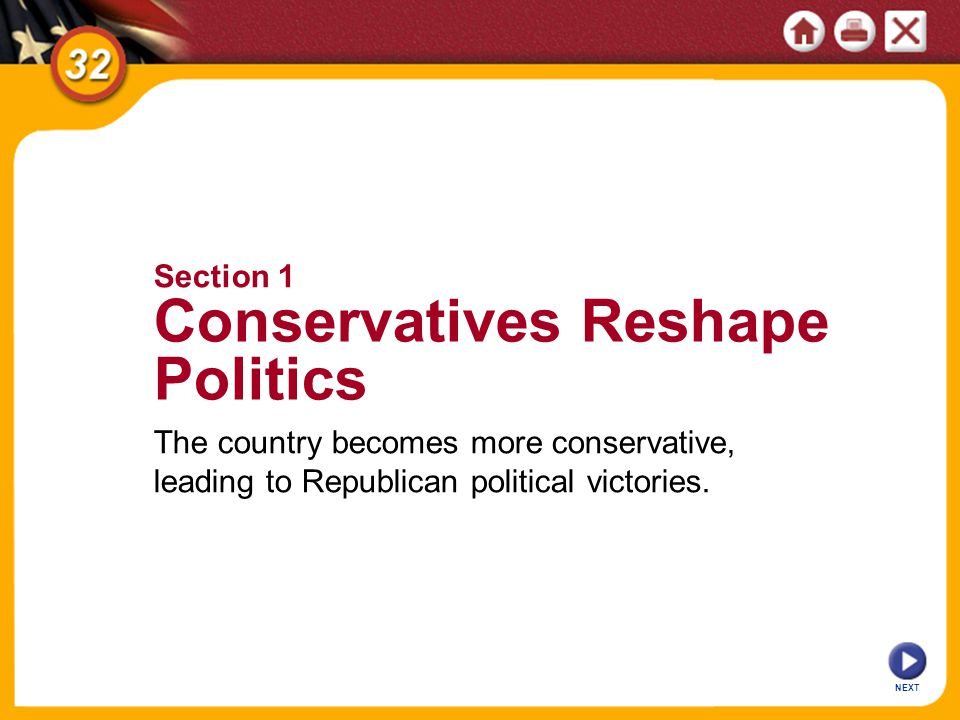 NEXT The country becomes more conservative, leading to Republican political victories.