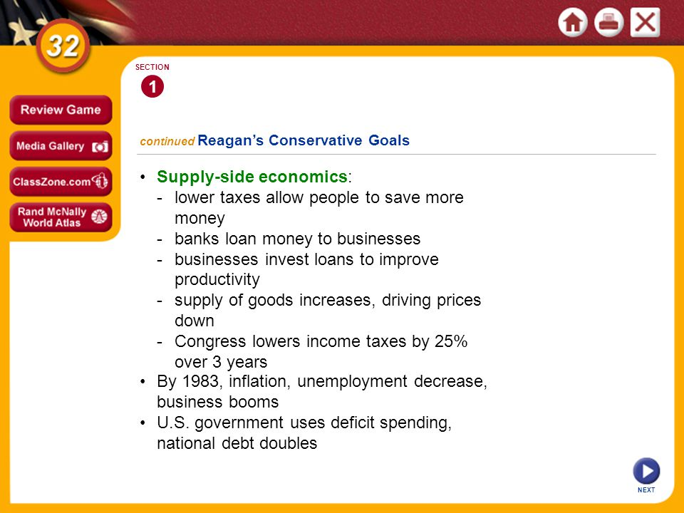 NEXT 1 SECTION Supply-side economics: -lower taxes allow people to save more money -banks loan money to businesses -businesses invest loans to improve productivity -supply of goods increases, driving prices down -Congress lowers income taxes by 25% over 3 years continued Reagans Conservative Goals By 1983, inflation, unemployment decrease, business booms U.S.