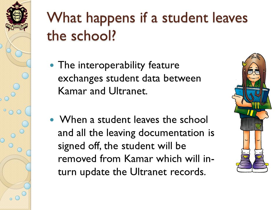 What happens if a student leaves the school? The interoperability feature exchanges student data between Kamar and Ultranet. When a student leaves the