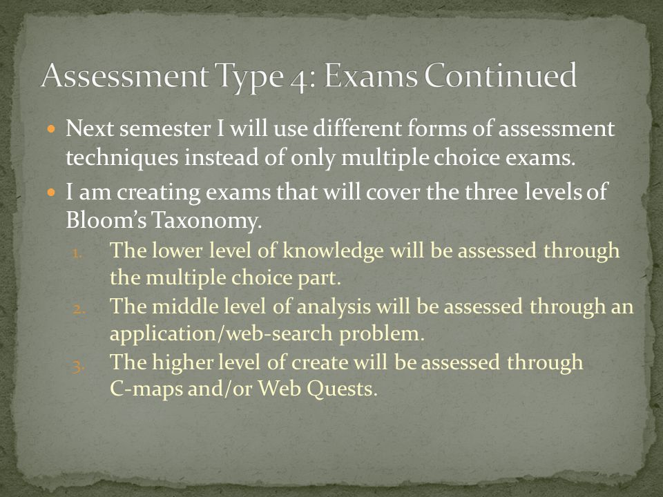 This semester I have been using multiple choice exams for the major assessments, as well as, the final exam. I now have come to the understanding that