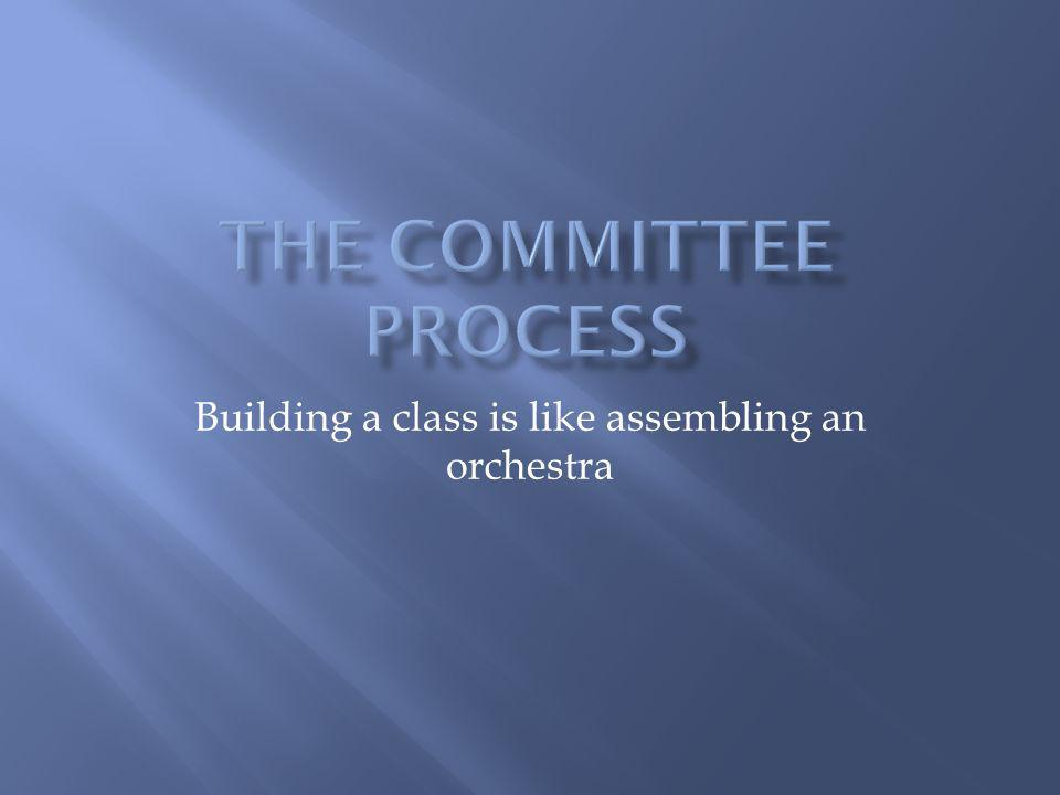 Building a class is like assembling an orchestra