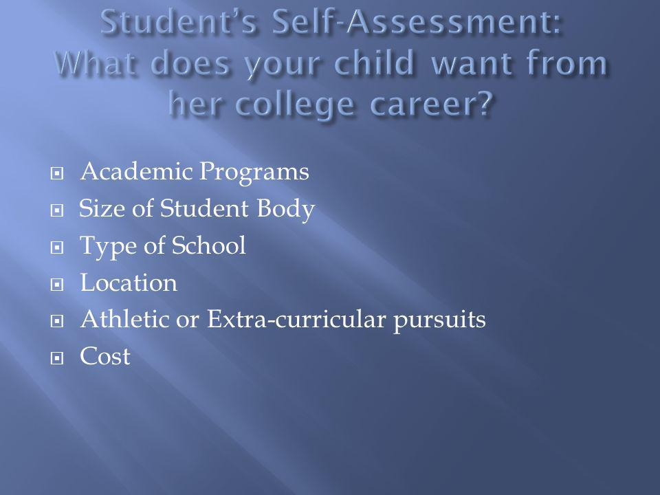 Academic Programs Size of Student Body Type of School Location Athletic or Extra-curricular pursuits Cost