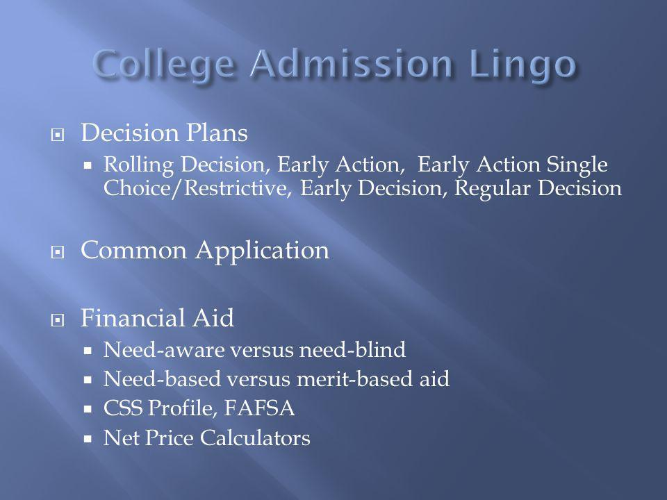 Decision Plans Rolling Decision, Early Action, Early Action Single Choice/Restrictive, Early Decision, Regular Decision Common Application Financial A