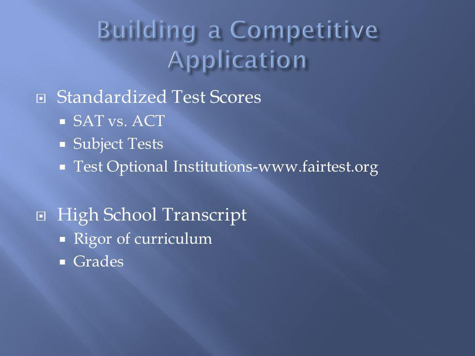 Standardized Test Scores SAT vs. ACT Subject Tests Test Optional Institutions-www.fairtest.org High School Transcript Rigor of curriculum Grades