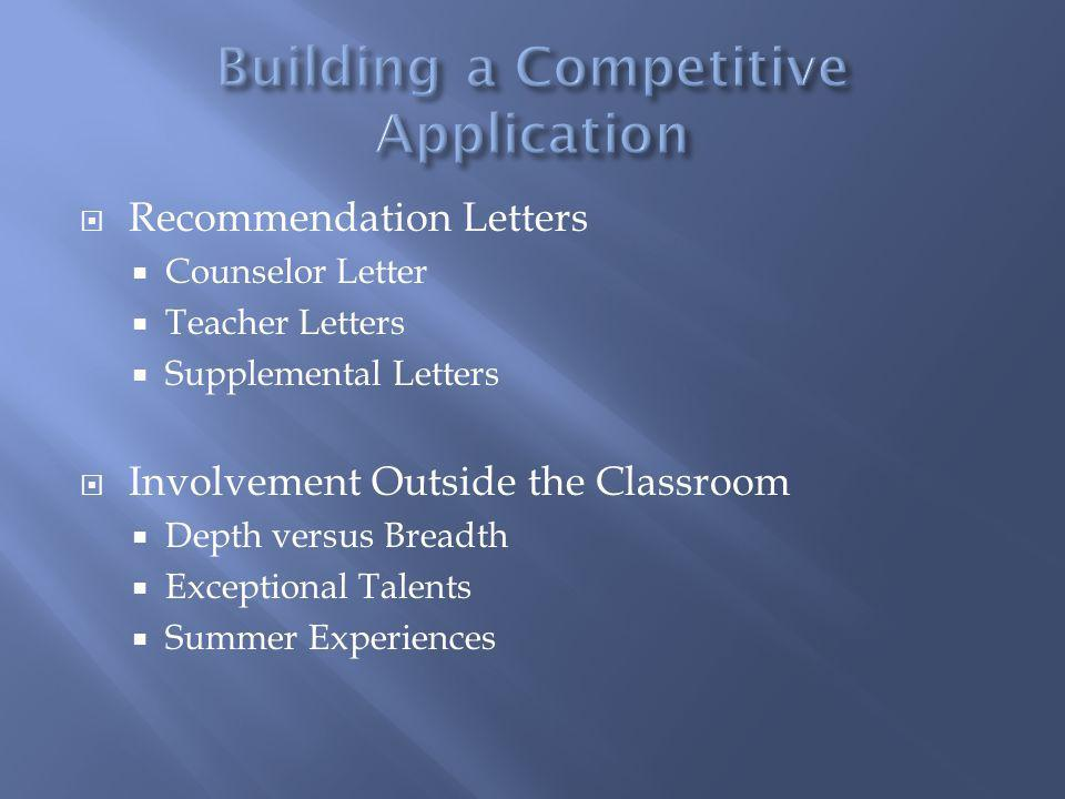 Recommendation Letters Counselor Letter Teacher Letters Supplemental Letters Involvement Outside the Classroom Depth versus Breadth Exceptional Talents Summer Experiences