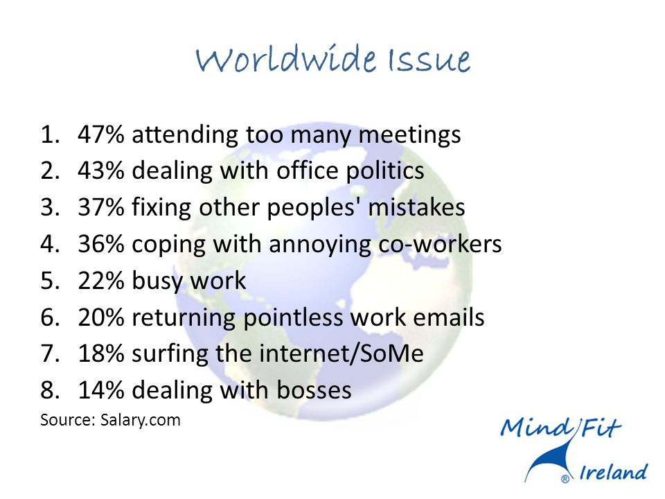 Worldwide Issue 1.47% attending too many meetings 2.43% dealing with office politics 3.37% fixing other peoples' mistakes 4.36% coping with annoying c