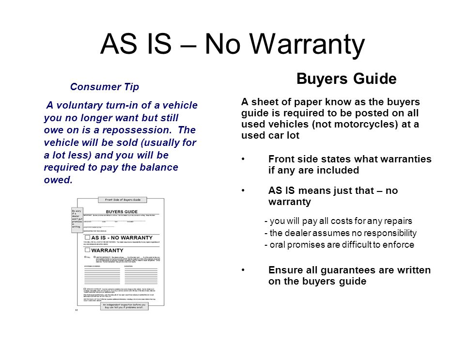 Auto Service Contracts After Market Warranties No two warranties are the same - shop around and look on the internet Length of Warranty - may overlap