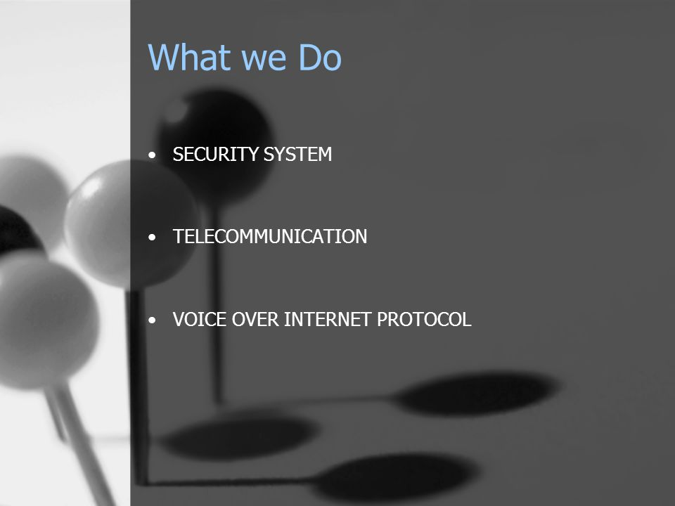 What we Do SECURITY SYSTEM TELECOMMUNICATION VOICE OVER INTERNET PROTOCOL
