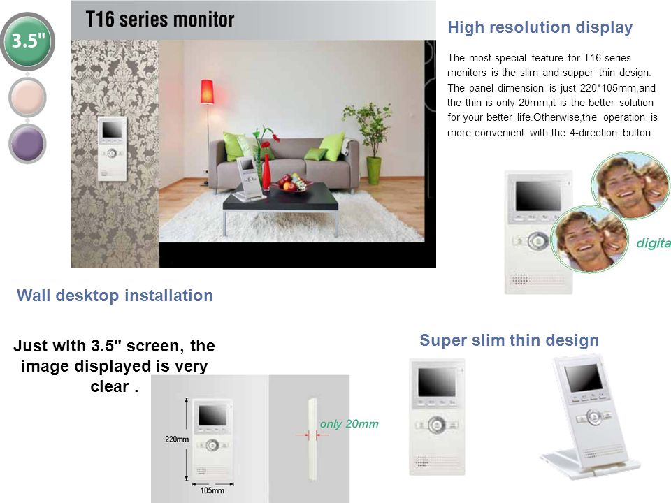 Super slim thin design Wall desktop installation Just with 3.5
