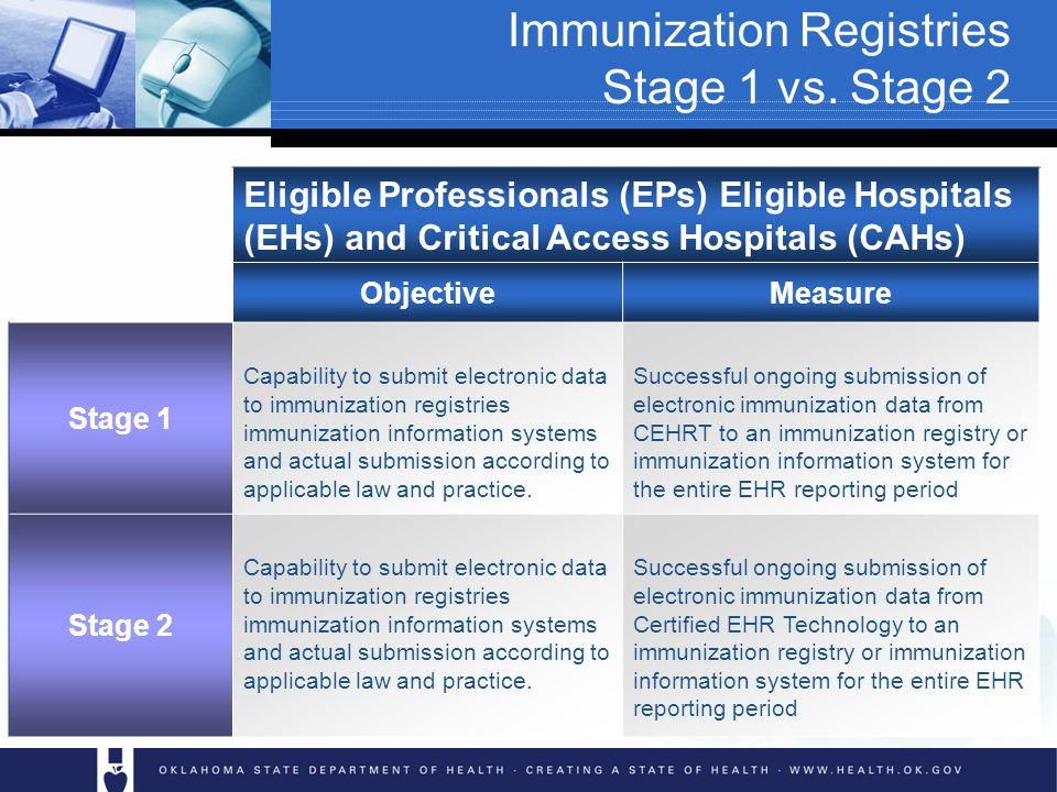 Immunization Registries Stage 1 vs.