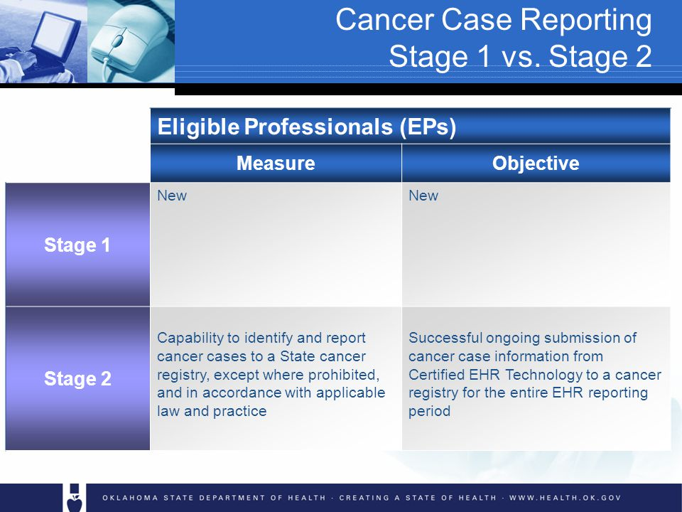 Cancer Case Reporting Stage 1 vs.