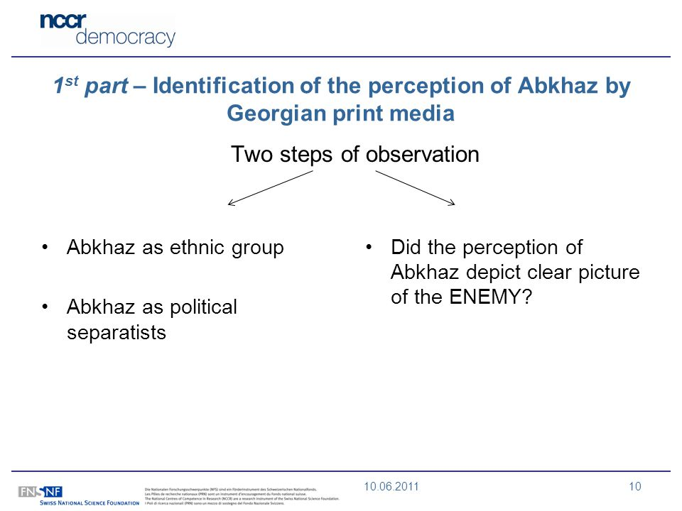 10.06.201110 1 st part – Identification of the perception of Abkhaz by Georgian print media Two steps of observation Abkhaz as ethnic group Abkhaz as political separatists Did the perception of Abkhaz depict clear picture of the ENEMY