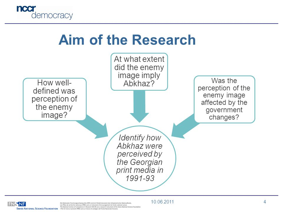 10.06.20114 Aim of the Research Identify how Abkhaz were perceived by the Georgian print media in 1991-93 How well- defined was perception of the enem