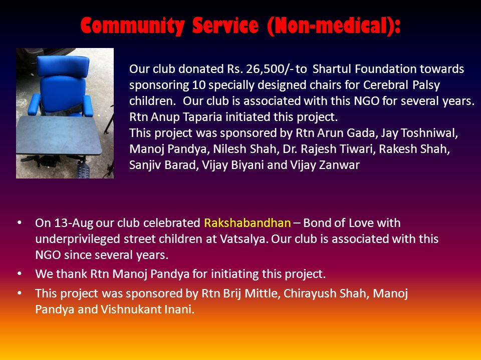 Community Service (Non-medical): On 13-Aug our club celebrated Rakshabandhan – Bond of Love with underprivileged street children at Vatsalya.