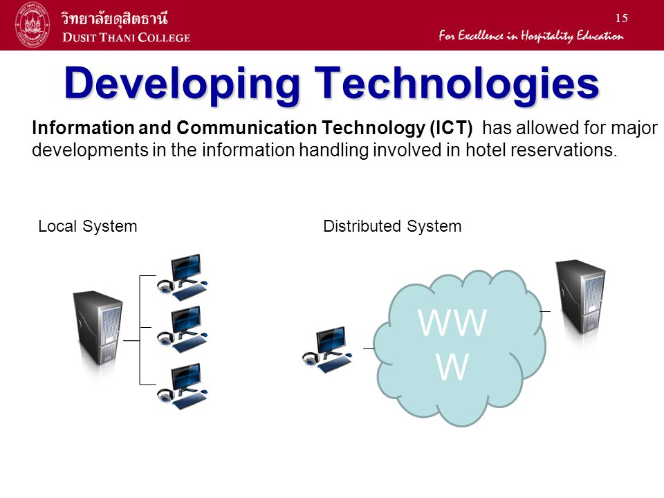 15 Developing Technologies Information and Communication Technology (ICT) has allowed for major developments in the information handling involved in hotel reservations.