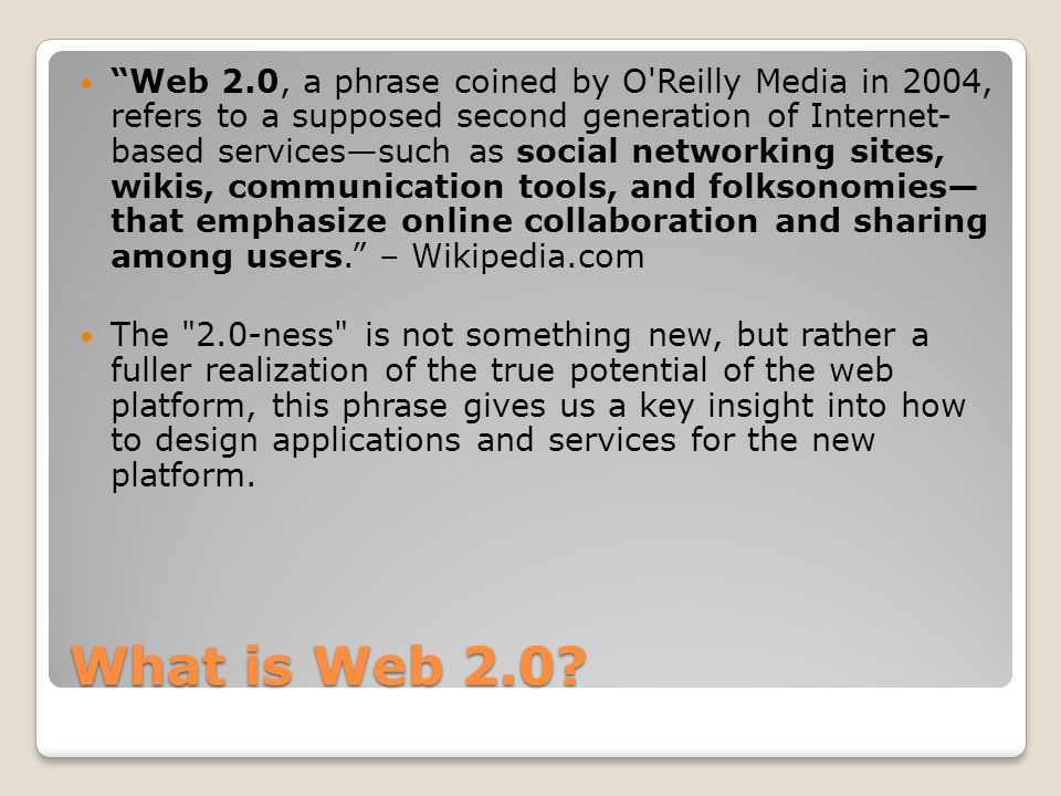 Web 1.0 to Web 2.0 Web 1.0 Web 2.0 DoubleClick --> Google AdSense Ofoto --> Flickr Akamai --> BitTorrent mp3.com --> Napster Britannica Online --> Wikipedia personal websites --> blogging evite --> upcoming.org and EVDB domain name speculation --> search engine optimization page views --> cost per click screen scraping --> web services publishing --> participation content management systems --> wikis directories (taxonomy) --> tagging ( folksonomy ) stickiness --> syndication