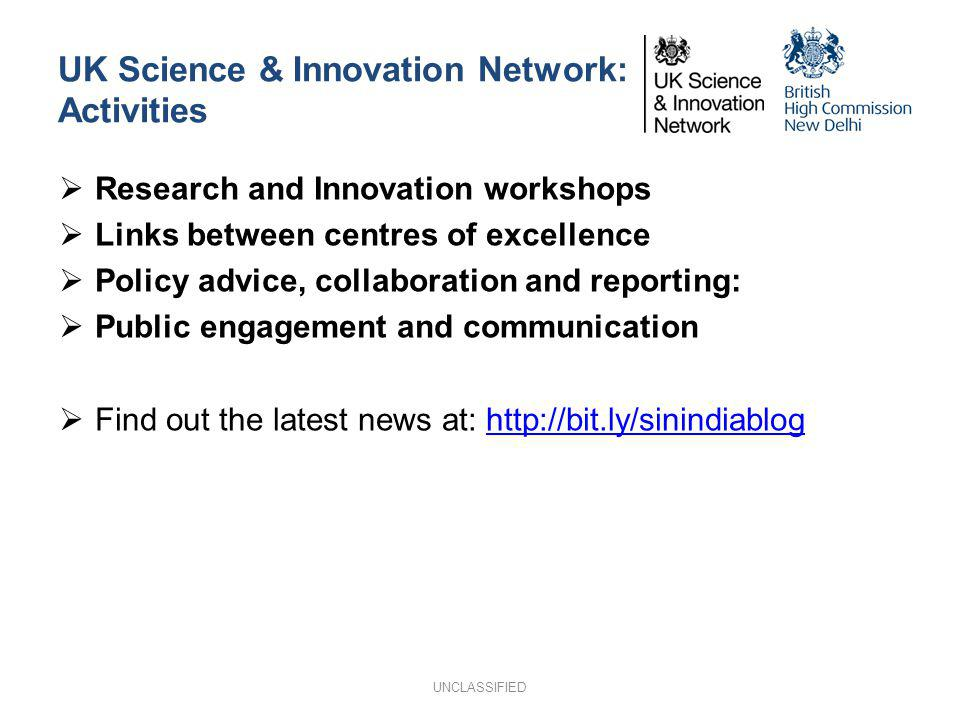 UK Science & Innovation Network: Activities Research and Innovation workshops Links between centres of excellence Policy advice, collaboration and rep