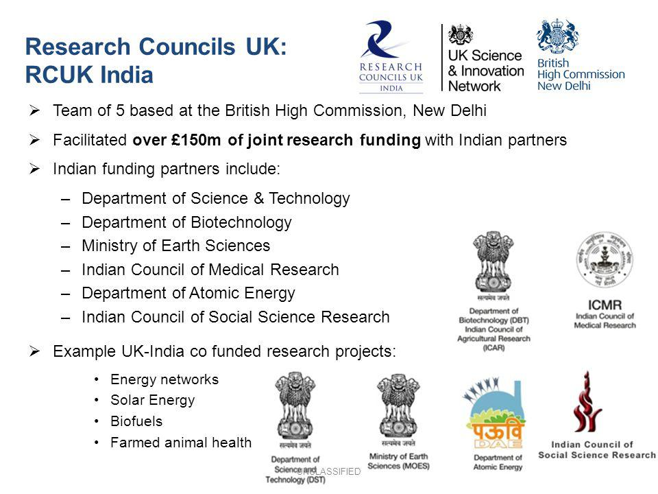 Research Councils UK: RCUK India Team of 5 based at the British High Commission, New Delhi Facilitated over £150m of joint research funding with India