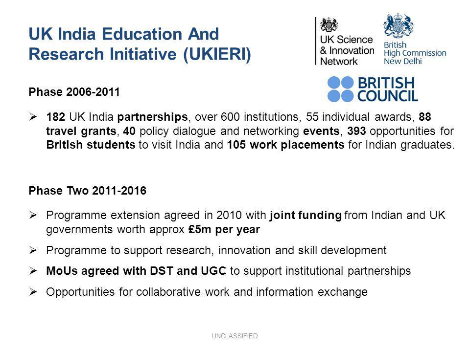 UK India Education And Research Initiative (UKIERI) Phase 2006-2011 182 UK India partnerships, over 600 institutions, 55 individual awards, 88 travel