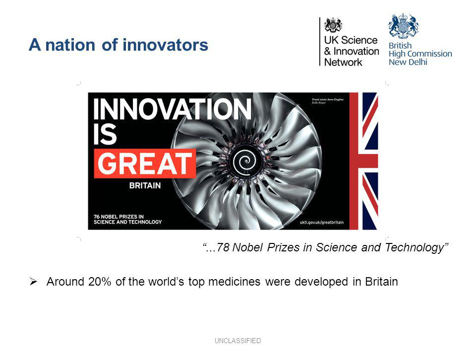 A nation of innovators...78 Nobel Prizes in Science and Technology Around 20% of the worlds top medicines were developed in Britain UNCLASSIFIED