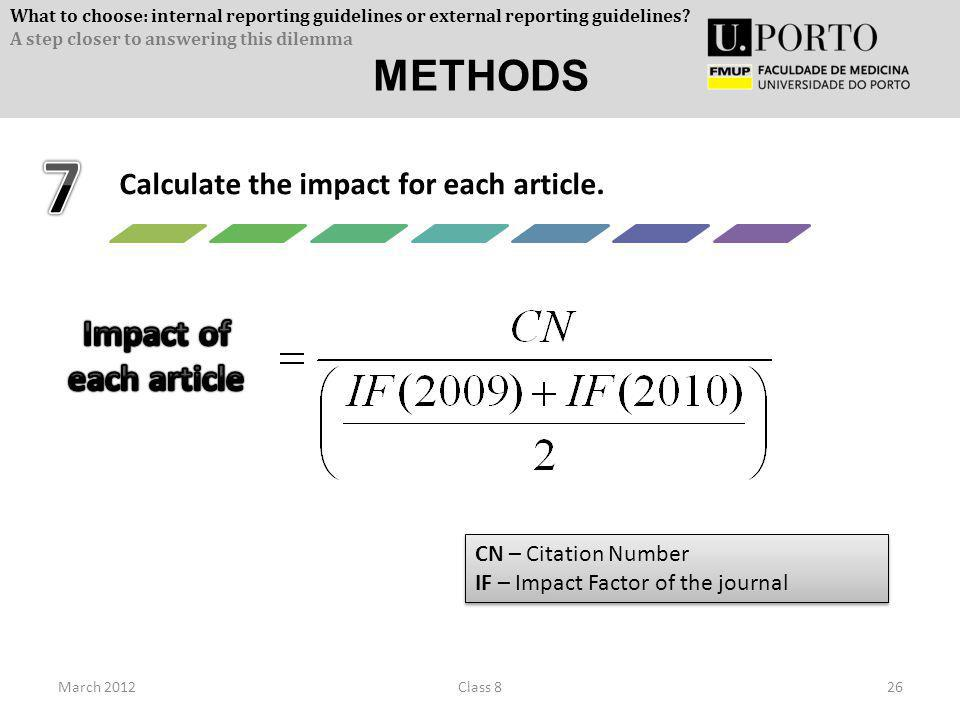 March 201226Class 8 Calculate the impact for each article. CN – Citation Number IF – Impact Factor of the journal CN – Citation Number IF – Impact Fac