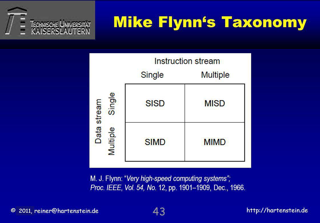 © 2010, reiner@hartenstein.de http://hartenstein.de TU Kaiserslautern 2011, Mike Flynns Taxonomy 43 M. J. Flynn: Very high-speed computing systems; Pr