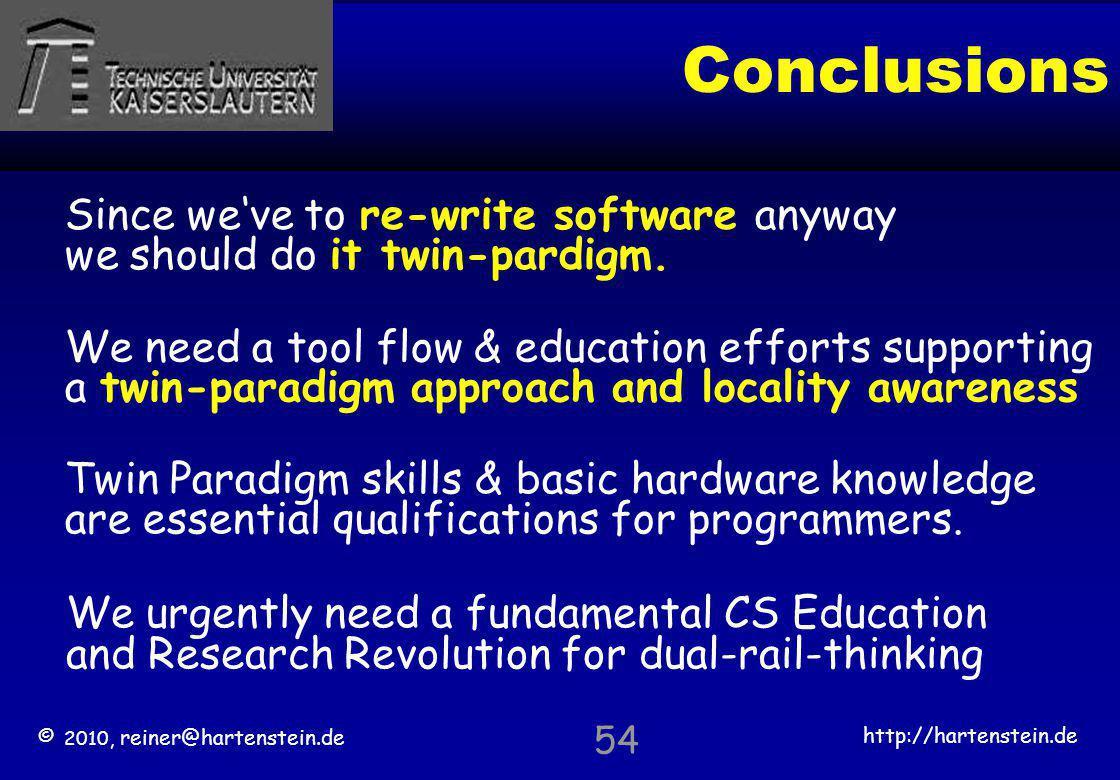 © 2010, reiner@hartenstein.de http://hartenstein.de TU Kaiserslautern 54 Conclusions Twin Paradigm skills & basic hardware knowledge are essential qua