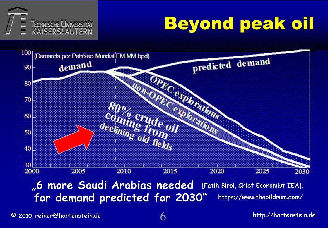 © 2010, reiner@hartenstein.de http://hartenstein.de TU Kaiserslautern Beyond peak oil 6 6 more Saudi Arabias needed for demand predicted for 2030 80%