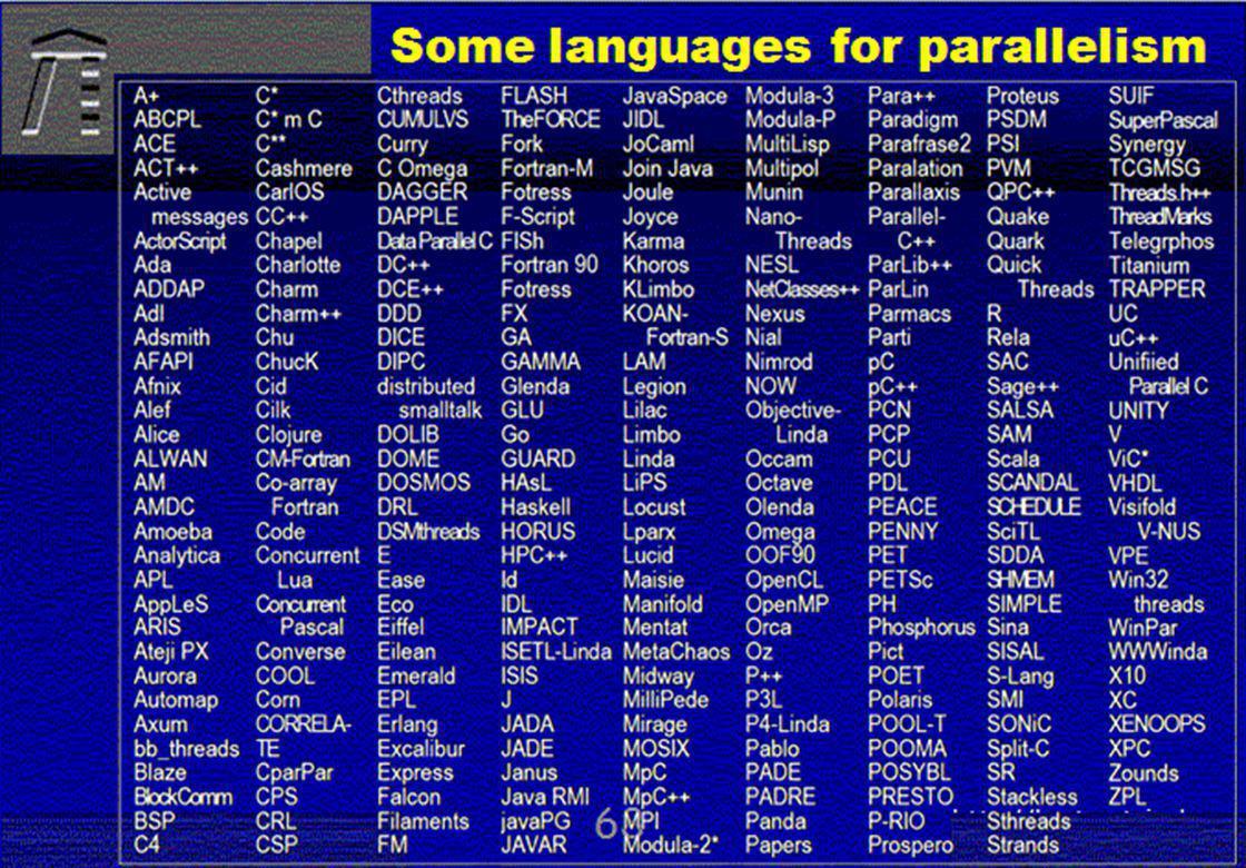 © 2010, reiner@hartenstein.de http://hartenstein.de TU Kaiserslautern Some languages for parallelism 67
