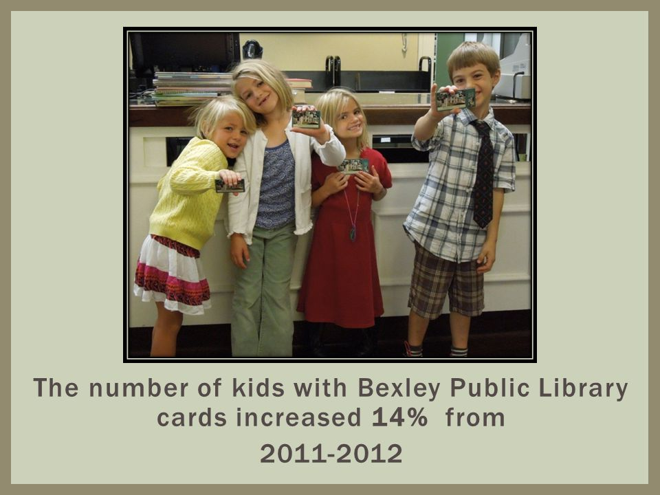 The number of kids with Bexley Public Library cards increased 14% from 2011-2012