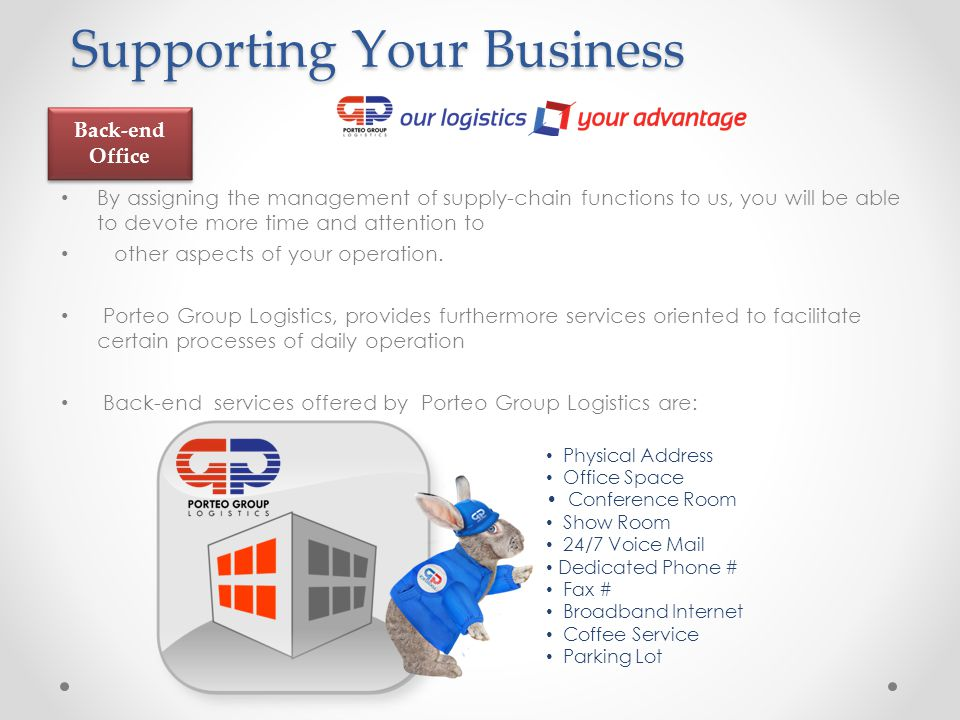 Supporting Your Business Supporting Your Business By assigning the management of supply-chain functions to us, you will be able to devote more time and attention to other aspects of your operation.