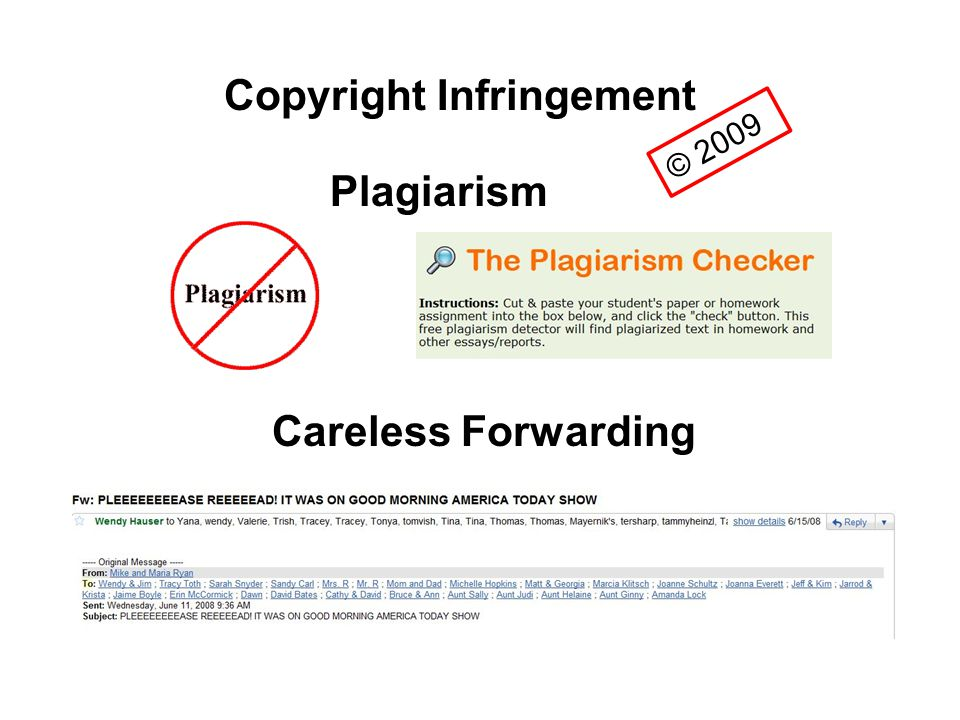© 2009 Copyright Infringement Plagiarism Careless Forwarding