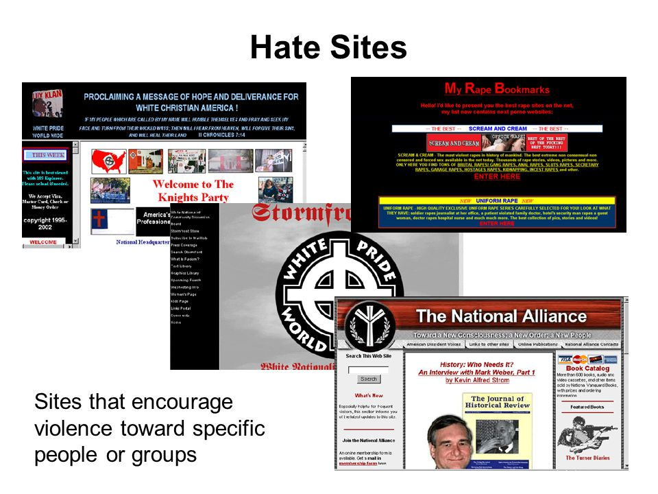 Hate Sites Sites that encourage violence toward specific people or groups